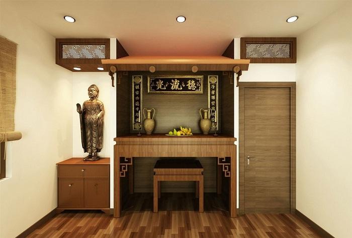 Tủ thờ gia tiên có thể đặt bên cạnh gian thờ